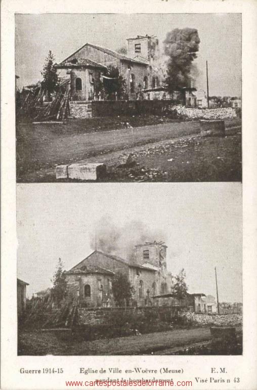 Ville-en-Woëvre - Bombardement église en Mars 1915.jpg